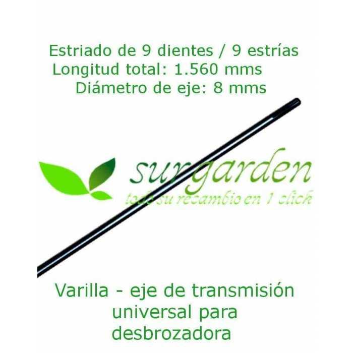 Eje - varilla de transmisión 9 estrías / Ø 8 mms / 156 cms de longitud para desbrozadora