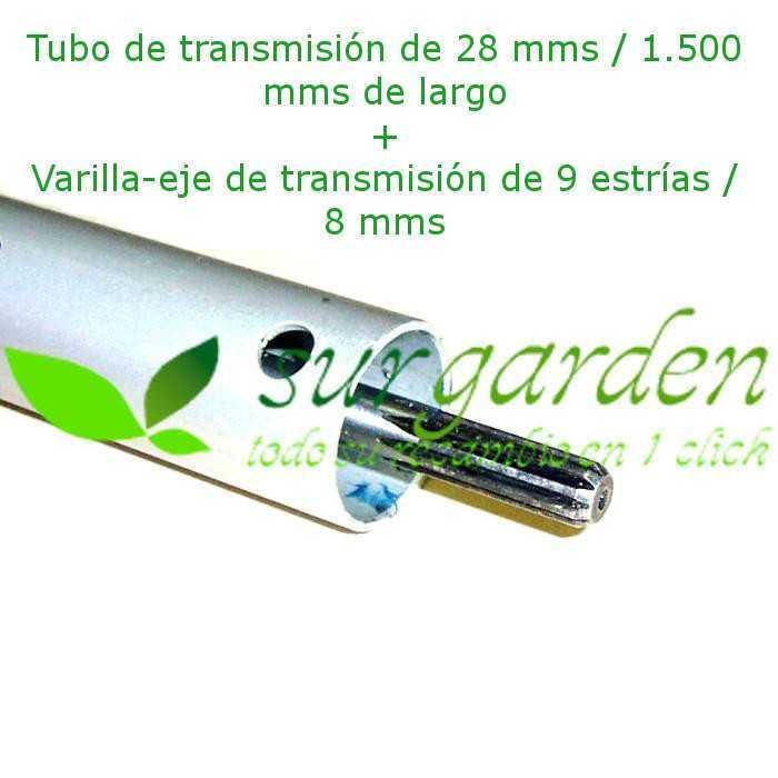 Conjunto tubo 28 mms + eje - varilla de transmisión 9 estrías / 150 cms de longitud para desbrozadora