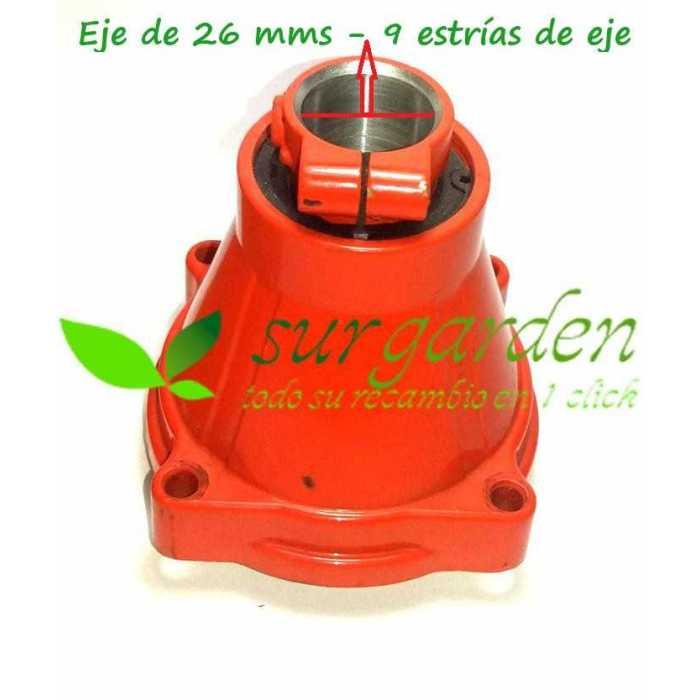 Soporte de campana de embrague para tubo de Ø26 mms y eje de 9 estrías