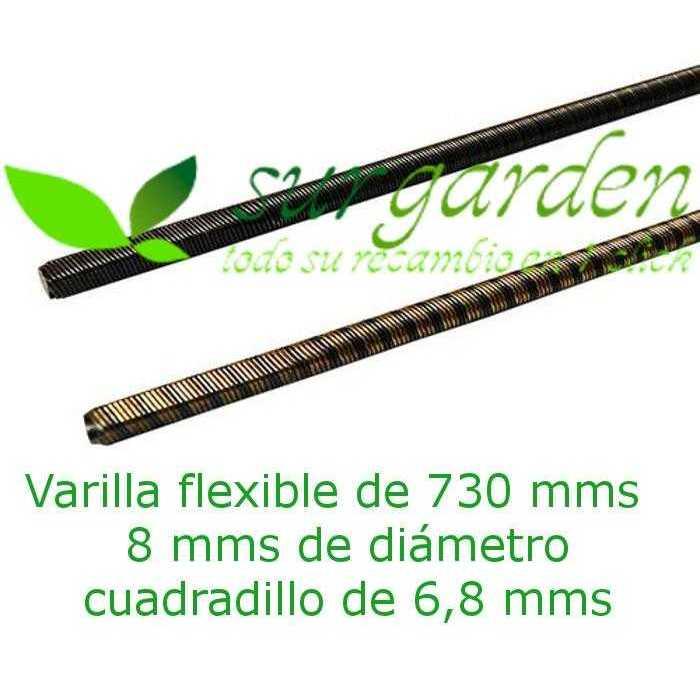 Eje - varilla flexible 730 mms de longitud / Ø 8 mms para transmisión de desbrozadora