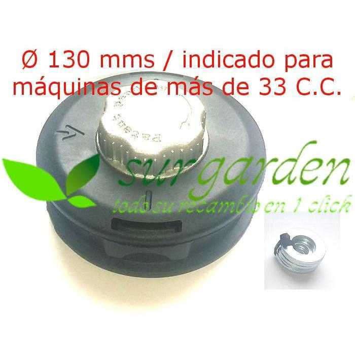 Cabezal de hilo universal tipo Tap´N Go sin adaptador con botón metálico de carga rápida de hilo